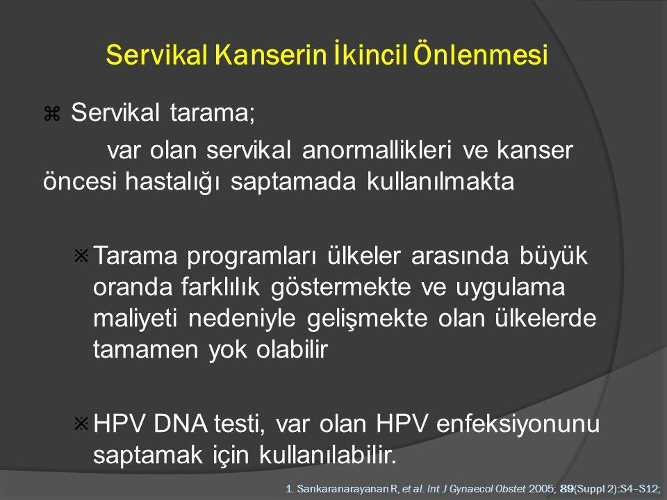 HPV ve Serviks Kanseri  Klinik, epidemiyolojik ve moleküler çalışmalar HPV infeksiyonunun serviks kanserinin bilinen en önemli ve en yaygın etyolojik faktörü olduğunu ortaya koymaktadır  Serviks kanserli hastaların neredeyse %100'ü HPV infeksiyon bulguları taşımaktadır ACS report on cervix cancer-2006  Persistan onkogenik HPV infeksiyonu uterin serviksin prekanseröz ve kanseröz lezyonları için en kuvvetli risk faktörüdür The SGOncologists Educ Res Panel.