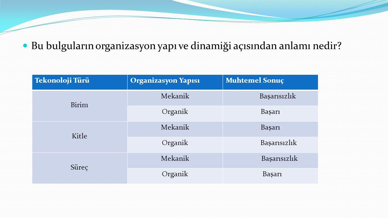 Bu bulguların organizasyon yapı ve dinamiği açısından anlamı nedir.