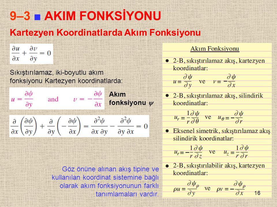 16 9–3 ■ AKIM FONKSİYONU Kartezyen Koordinatlarda Akım Fonksiyonu Sıkıştırılamaz, iki-boyutlu akım fonksiyonu Kartezyen koordinatlarda: Akım fonksiyon