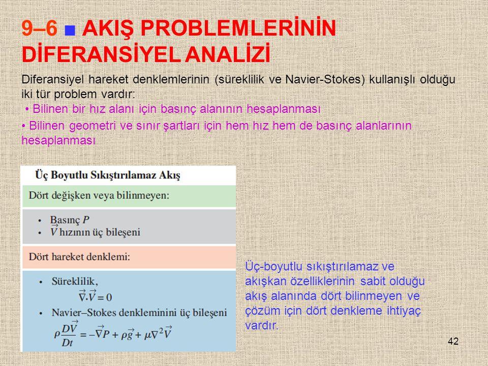 42 9–6 ■ AKIŞ PROBLEMLERİNİN DİFERANSİYEL ANALİZİ Diferansiyel hareket denklemlerinin (süreklilik ve Navier-Stokes) kullanışlı olduğu iki tür problem
