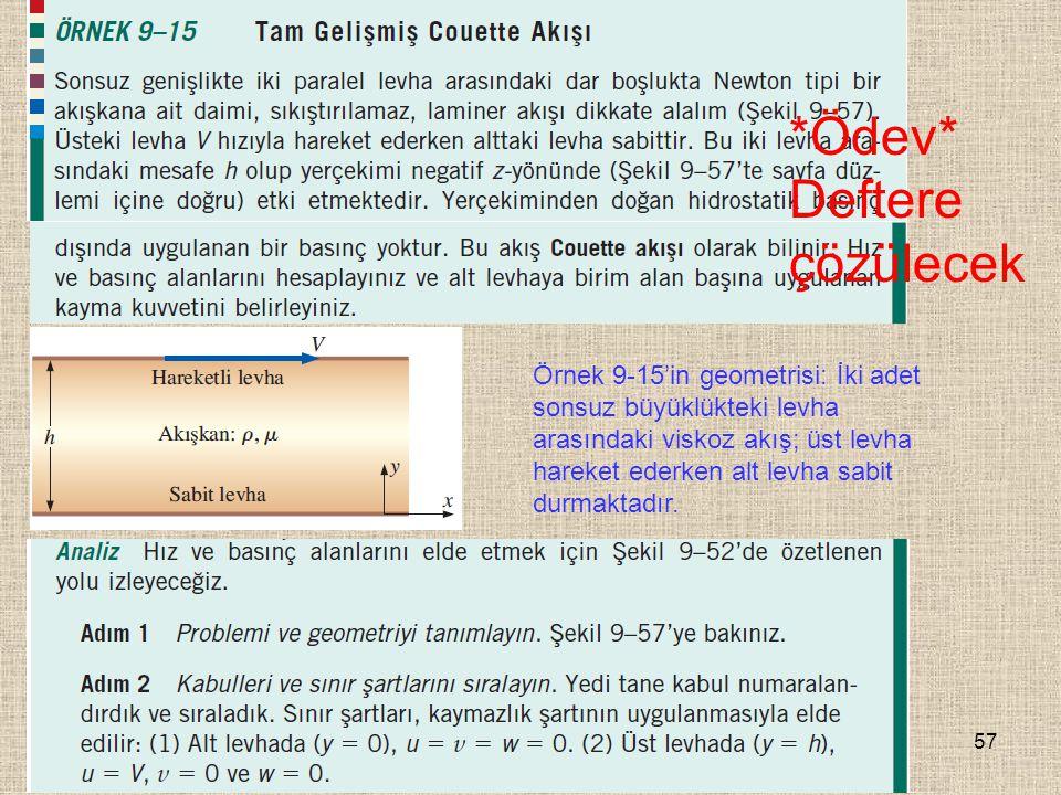 57 Örnek 9-15'in geometrisi: İki adet sonsuz büyüklükteki levha arasındaki viskoz akış; üst levha hareket ederken alt levha sabit durmaktadır. *Ödev*