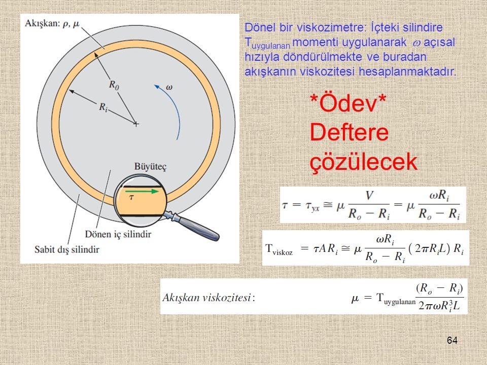 64 Dönel bir viskozimetre: İçteki silindire T uygulanan momenti uygulanarak  açısal hızıyla döndürülmekte ve buradan akışkanın viskozitesi hesaplanma