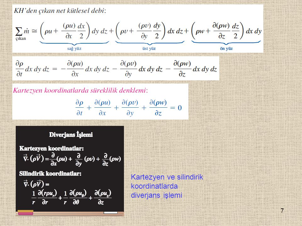 8 Silindirik Koordinatlarda Süreklilik Denklemi Silindirik koordinatlarda hız bileşenleri ve birim vektörler: (a) xy- veya r  - düzleminde iki boyutlu akış, (b) üç-boyutlu akış.