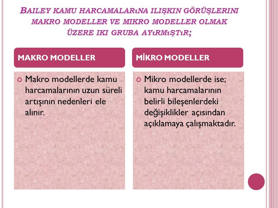 B AILEY KAMU HARCAMALARıNA ILIŞKIN GÖRÜŞLERINI MAKRO MODELLER VE MIKRO MODELLER OLMAK ÜZERE IKI GRUBA AYıRMıŞTıR ; Makro modellerde kamu harcamalarını