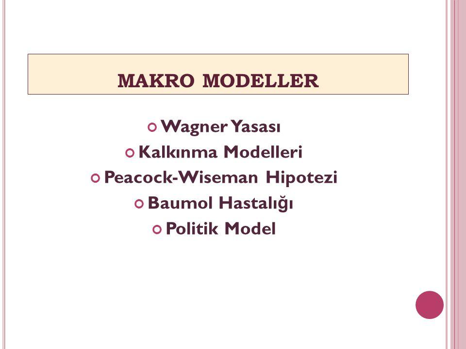 MAKRO MODELLER Wagner Yasası Kalkınma Modelleri Peacock-Wiseman Hipotezi Baumol Hastalı ğ ı Politik Model