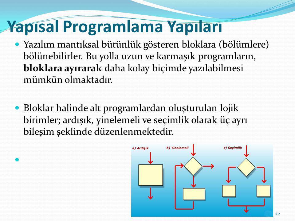 Yapısal Programlama Yapıları Yazılım mantıksal bütünlük gösteren bloklara (bölümlere) bölünebilirler. Bu yolla uzun ve karmaşık programların, bloklara