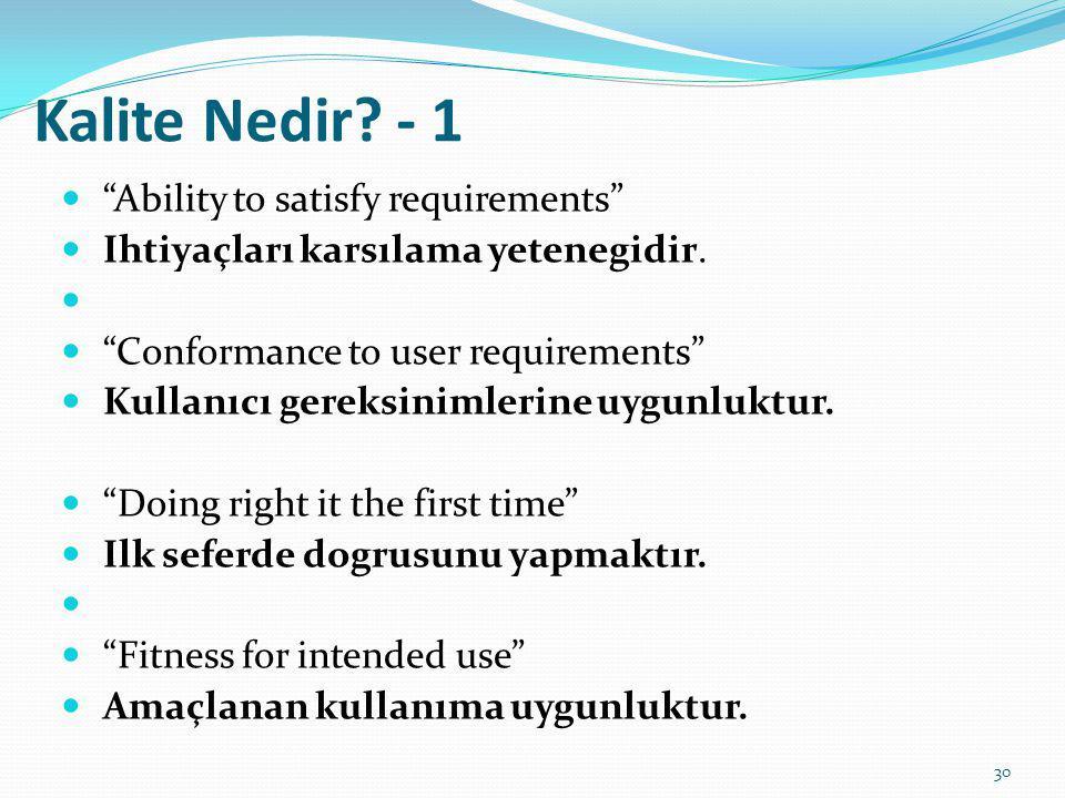 """Kalite Nedir? - 1 """"Ability to satisfy requirements"""" Ihtiyaçları karsılama yetenegidir. """"Conformance to user requirements"""" Kullanıcı gereksinimlerine u"""