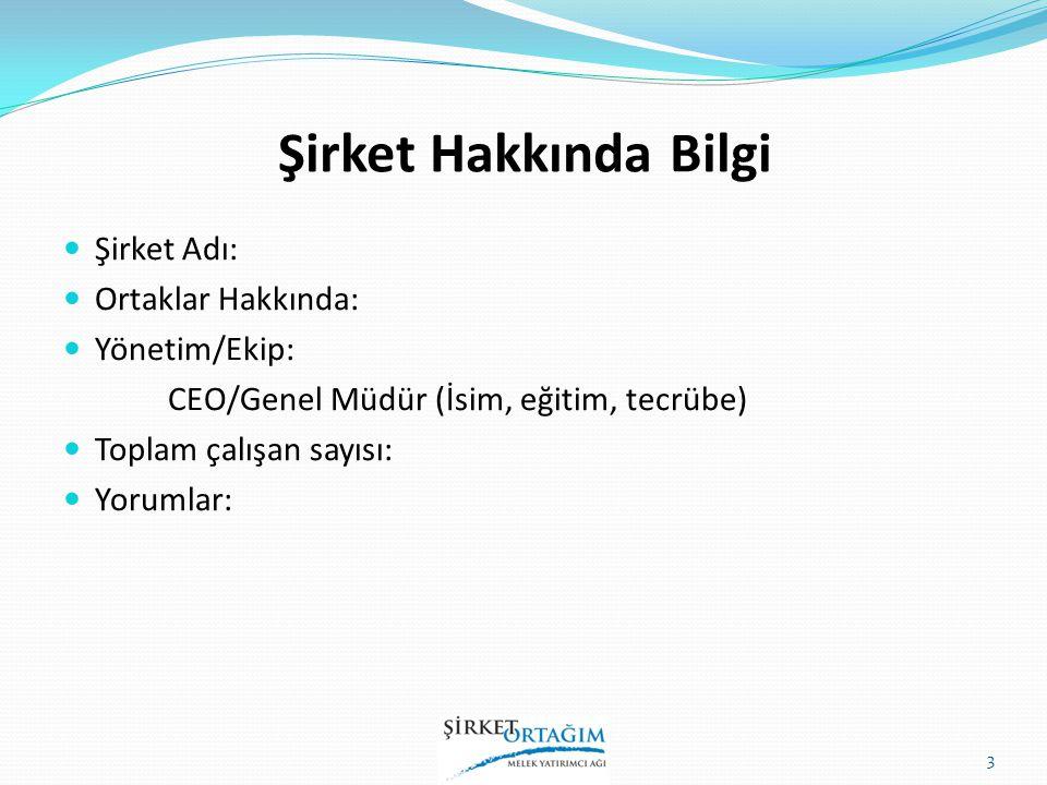 Şirket Hakkında Bilgi Şirket Adı: Ortaklar Hakkında: Yönetim/Ekip: CEO/Genel Müdür (İsim, eğitim, tecrübe) Toplam çalışan sayısı: Yorumlar: 3