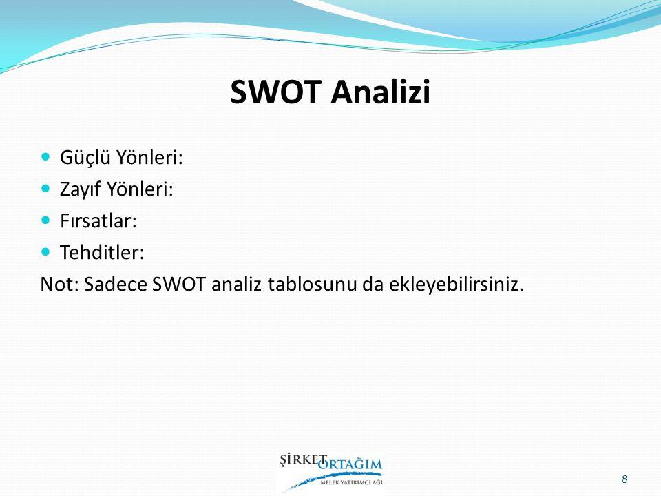 SWOT Analizi Güçlü Yönleri: Zayıf Yönleri: Fırsatlar: Tehditler: Not: Sadece SWOT analiz tablosunu da ekleyebilirsiniz. 8