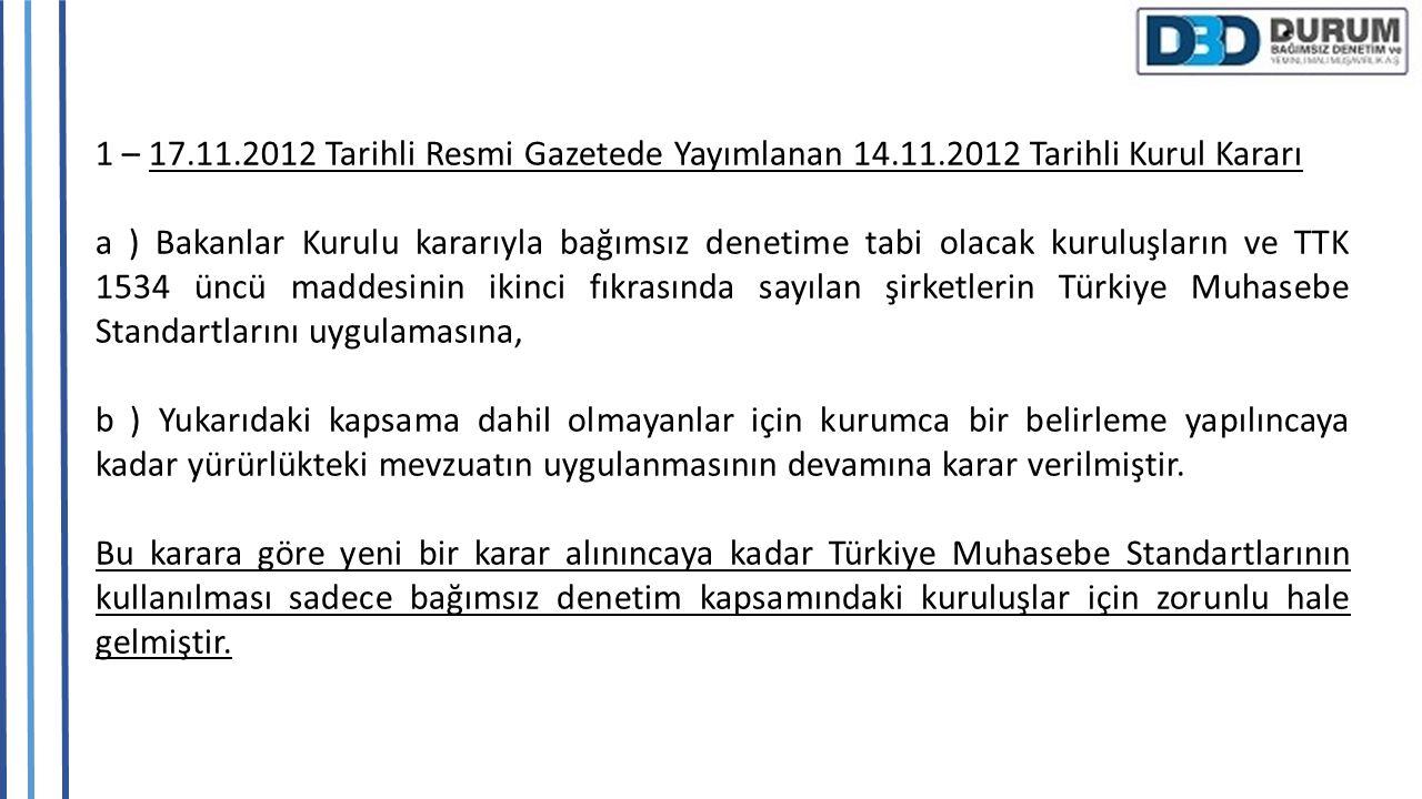 1 – 17.11.2012 Tarihli Resmi Gazetede Yayımlanan 14.11.2012 Tarihli Kurul Kararı a ) Bakanlar Kurulu kararıyla bağımsız denetime tabi olacak kuruluşla