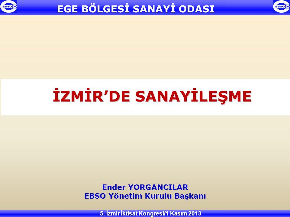 İZMİR'DE SANAYİLEŞME Ender YORGANCILAR EBSO Yönetim Kurulu Başkanı 5. İzmir İktisat Kongresi/1 Kasım 2013 EGE BÖLGESİ SANAYİ ODASI