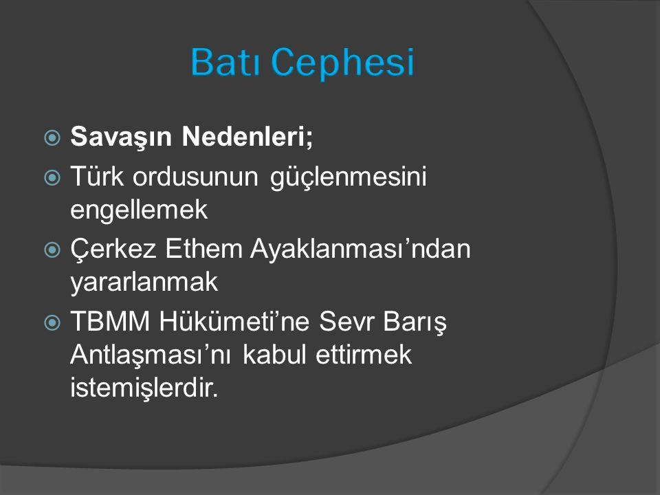  Savaşın Nedenleri;  Türk ordusunun güçlenmesini engellemek  Çerkez Ethem Ayaklanması'ndan yararlanmak  TBMM Hükümeti'ne Sevr Barış Antlaşması'nı kabul ettirmek istemişlerdir.