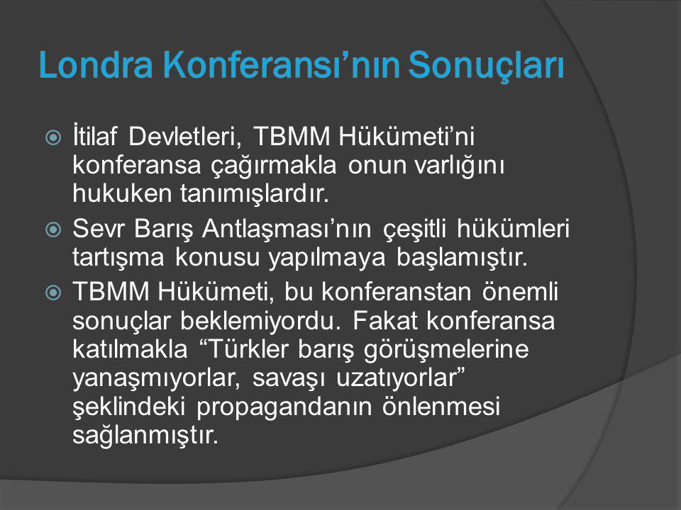  İtilaf Devletleri, TBMM Hükümeti'ni konferansa çağırmakla onun varlığını hukuken tanımışlardır.  Sevr Barış Antlaşması'nın çeşitli hükümleri tartış