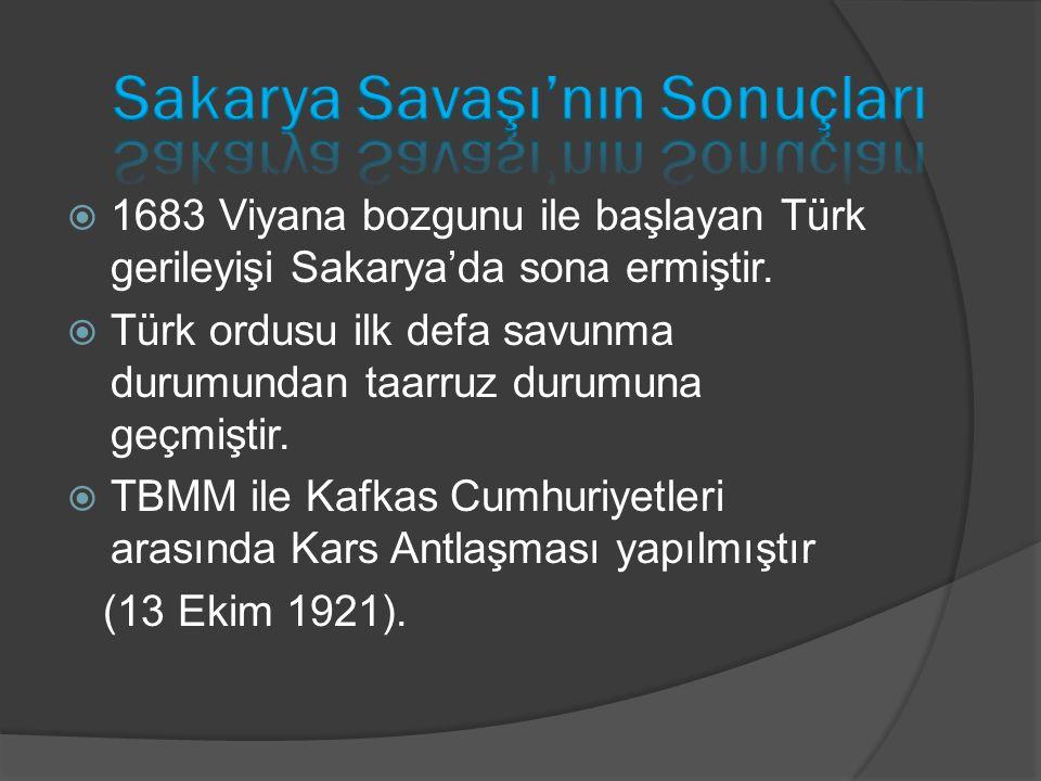  1683 Viyana bozgunu ile başlayan Türk gerileyişi Sakarya'da sona ermiştir.  Türk ordusu ilk defa savunma durumundan taarruz durumuna geçmiştir.  T