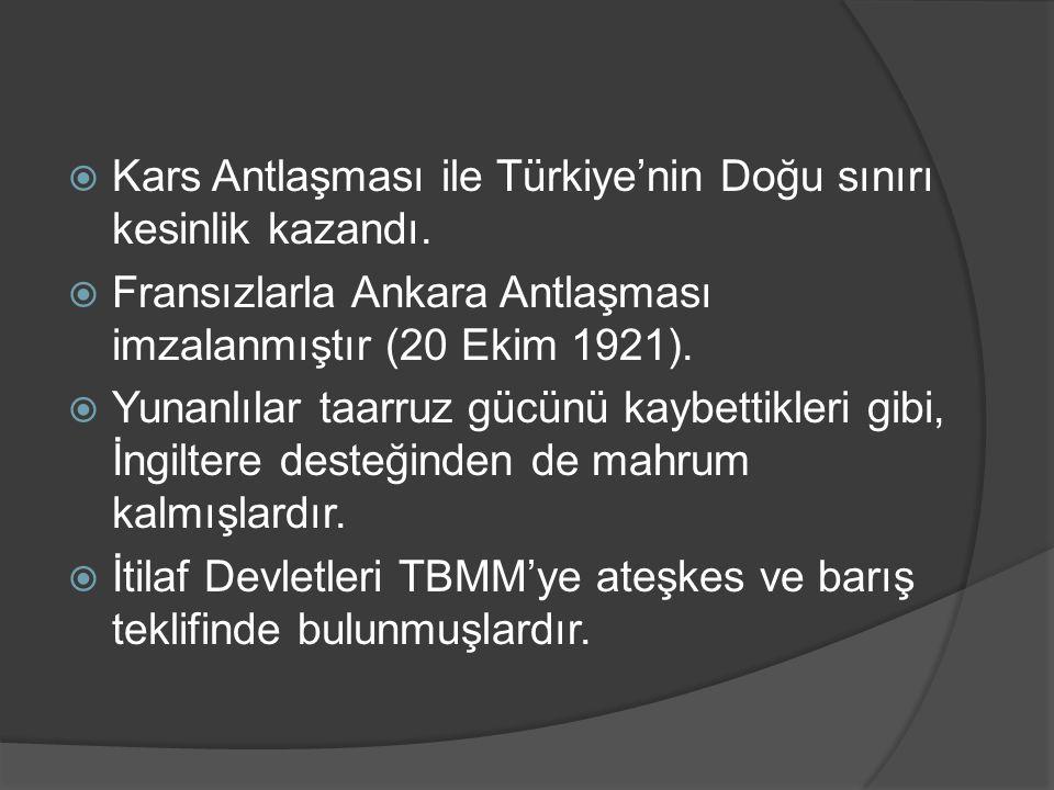  Kars Antlaşması ile Türkiye'nin Doğu sınırı kesinlik kazandı.  Fransızlarla Ankara Antlaşması imzalanmıştır (20 Ekim 1921).  Yunanlılar taarruz gü