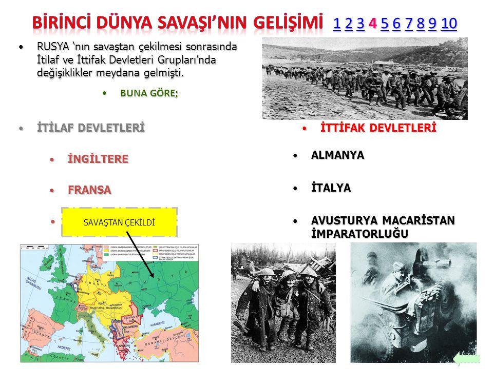 RUSYA 'nın savaştan çekilmesi sonrasında İtilaf ve İttifak Devletleri Grupları'nda değişiklikler meydana gelmişti.RUSYA 'nın savaştan çekilmesi sonras