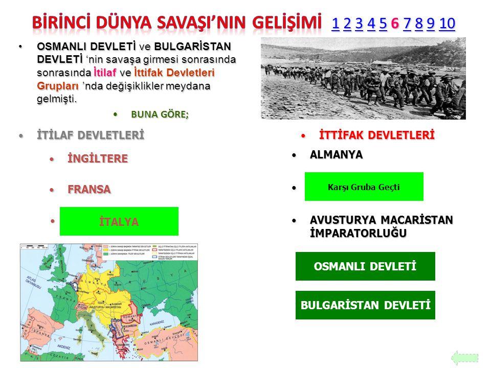 OSMANLI DEVLETİ ve BULGARİSTAN DEVLETİ 'nin savaşa girmesi sonrasında sonrasında İtilaf ve İttifak Devletleri Grupları 'nda değişiklikler meydana gelm