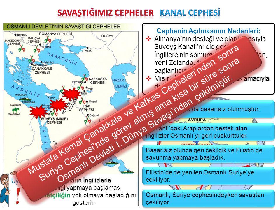 Cephenin Açılmasının Nedenleri:  Almanya'nın desteği ve planlamasıyla Süveyş Kanalı'nı ele geçirerek İngiltere'nin sömürgeleriyle (Hindistan, Yeni Ze