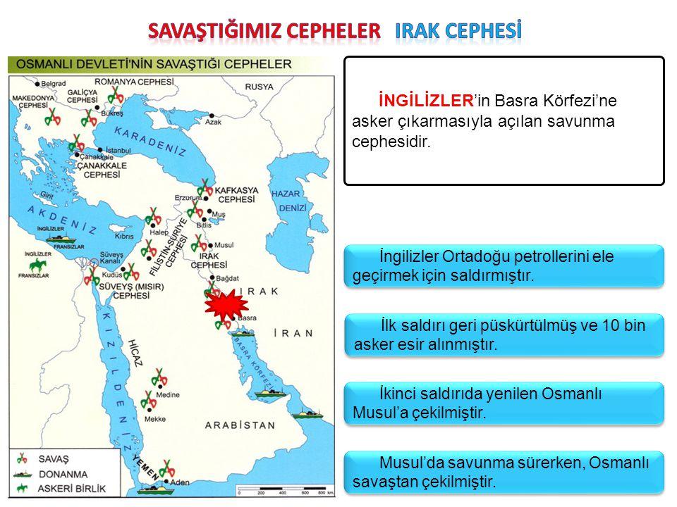 İNGİLİZLER'in Basra Körfezi'ne asker çıkarmasıyla açılan savunma cephesidir. İngilizler Ortadoğu petrollerini ele geçirmek için saldırmıştır. İlk sald