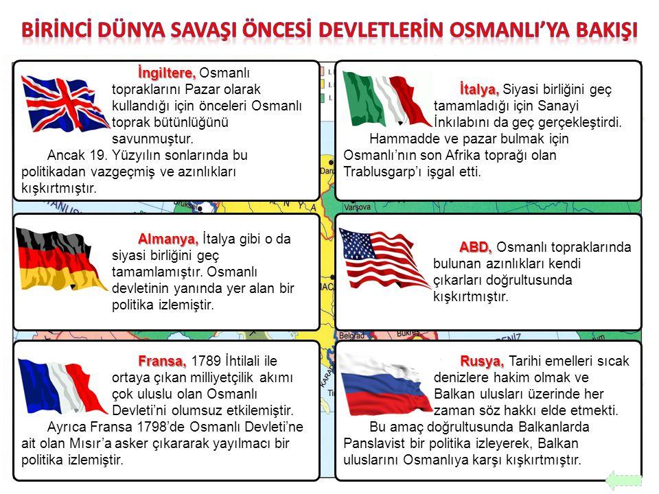 İngiltere, İngiltere, Osmanlı topraklarını Pazar olarak kullandığı için önceleri Osmanlı toprak bütünlüğünü savunmuştur. Ancak 19. Yüzyılın sonlarında