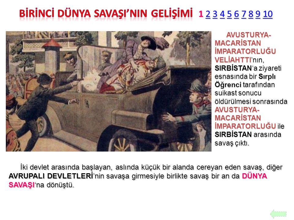 AVUSTURYA- MACARİSTAN İMPARATORLUĞU VELİAHTTI'nın, SIRBİSTAN'a ziyareti esnasında bir Sırplı Öğrenci tarafından suikast sonucu öldürülmesi sonrasında