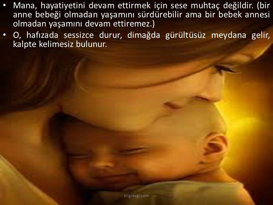 Mana, hayatiyetini devam ettirmek için sese muhtaç değildir. (bir anne bebeği olmadan yaşamını sürdürebilir ama bir bebek annesi olmadan yaşamını deva
