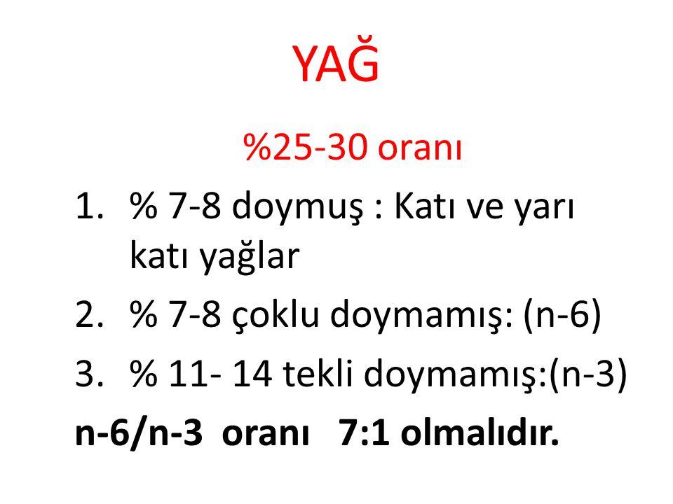 YAĞ %25-30 oranı 1.% 7-8 doymuş : Katı ve yarı katı yağlar 2.% 7-8 çoklu doymamış: (n-6) 3.% 11- 14 tekli doymamış:(n-3) n-6/n-3 oranı 7:1 olmalıdır.