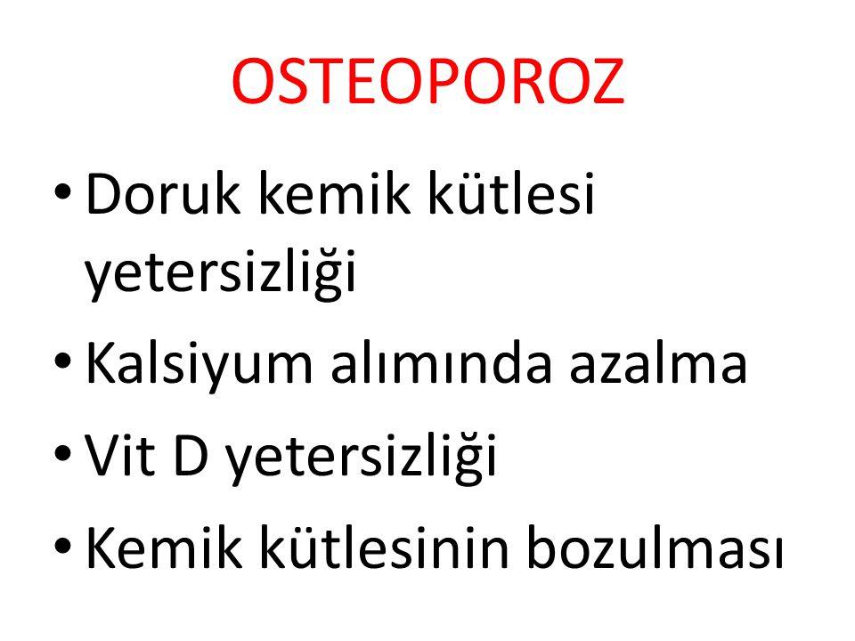 OSTEOPOROZ Doruk kemik kütlesi yetersizliği Kalsiyum alımında azalma Vit D yetersizliği Kemik kütlesinin bozulması