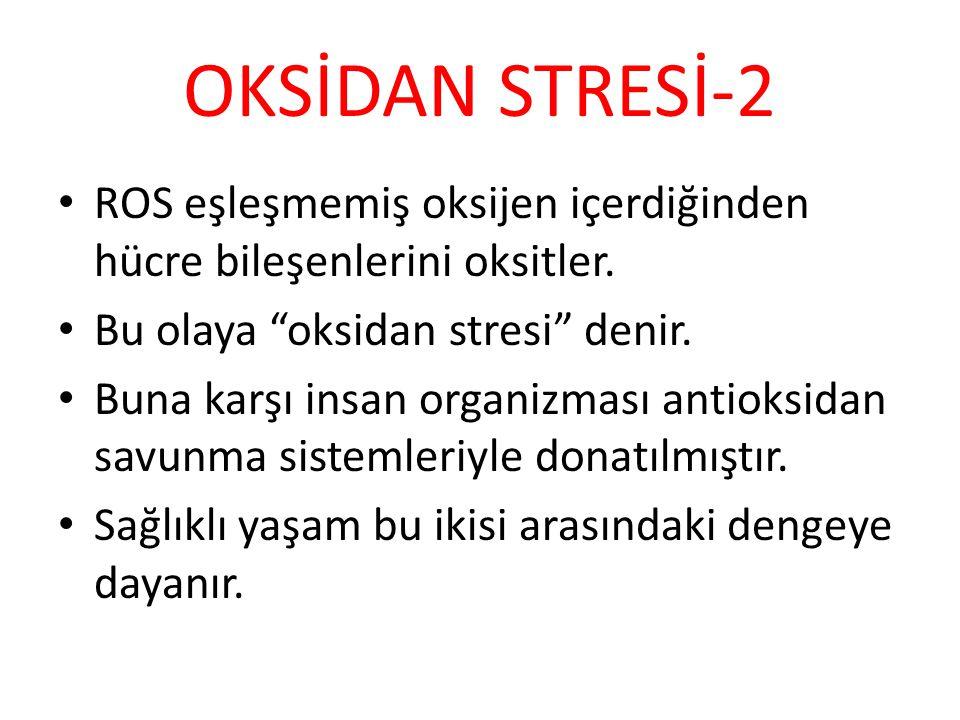 """OKSİDAN STRESİ-2 ROS eşleşmemiş oksijen içerdiğinden hücre bileşenlerini oksitler. Bu olaya """"oksidan stresi"""" denir. Buna karşı insan organizması antio"""