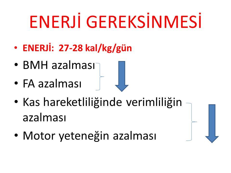 ENERJİ GEREKSİNMESİ ENERJİ: 27-28 kal/kg/gün BMH azalması FA azalması Kas hareketliliğinde verimliliğin azalması Motor yeteneğin azalması