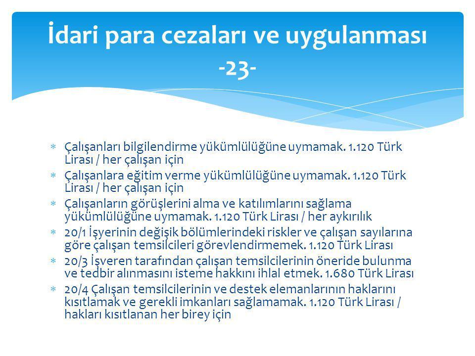  Çalışanları bilgilendirme yükümlülüğüne uymamak. 1.120 Türk Lirası / her çalışan için  Çalışanlara eğitim verme yükümlülüğüne uymamak. 1.120 Türk L