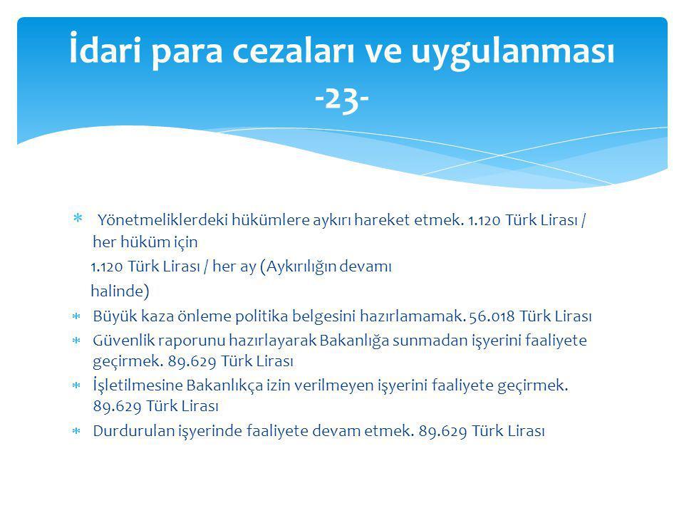 Yönetmeliklerdeki hükümlere aykırı hareket etmek. 1.120 Türk Lirası / her hüküm için 1.120 Türk Lirası / her ay (Aykırılığın devamı halinde)  Büyük