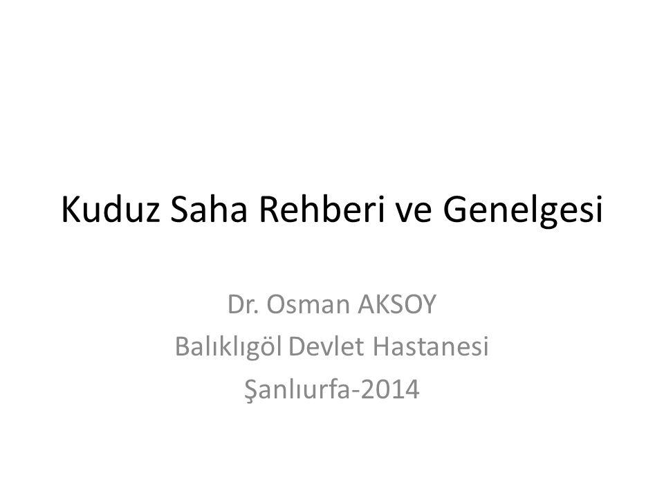 Kuduz Saha Rehberi ve Genelgesi Dr. Osman AKSOY Balıklıgöl Devlet Hastanesi Şanlıurfa-2014