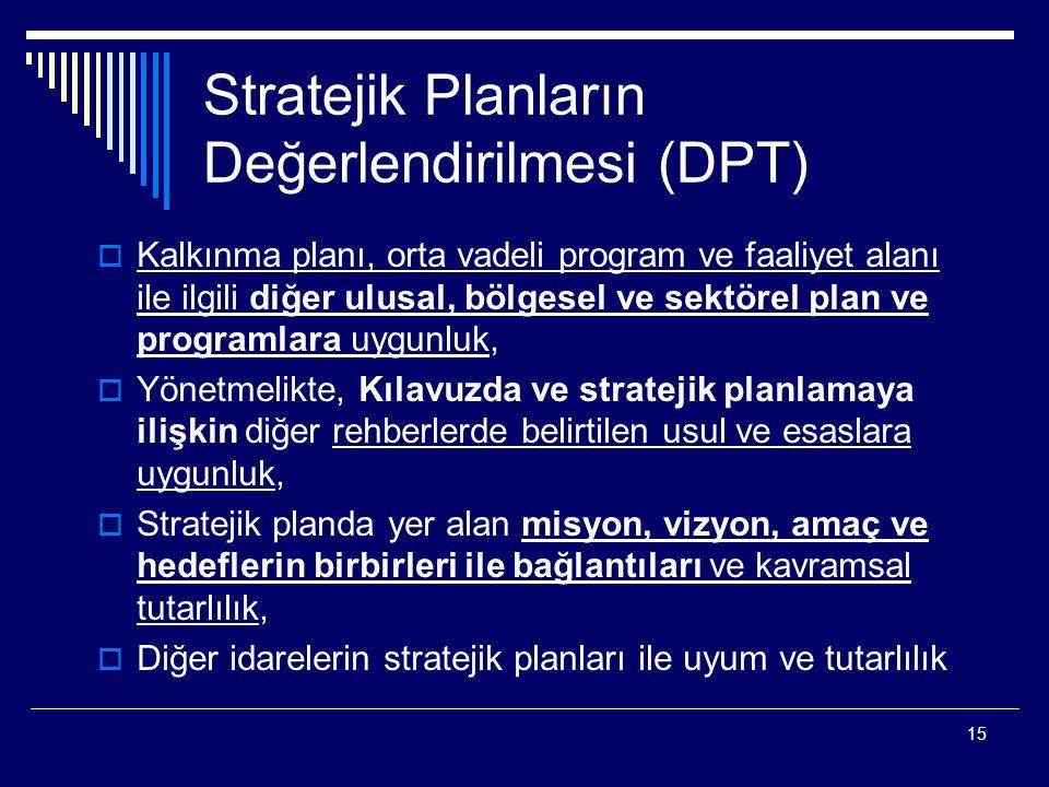 15 Stratejik Planların Değerlendirilmesi (DPT)  Kalkınma planı, orta vadeli program ve faaliyet alanı ile ilgili diğer ulusal, bölgesel ve sektörel p