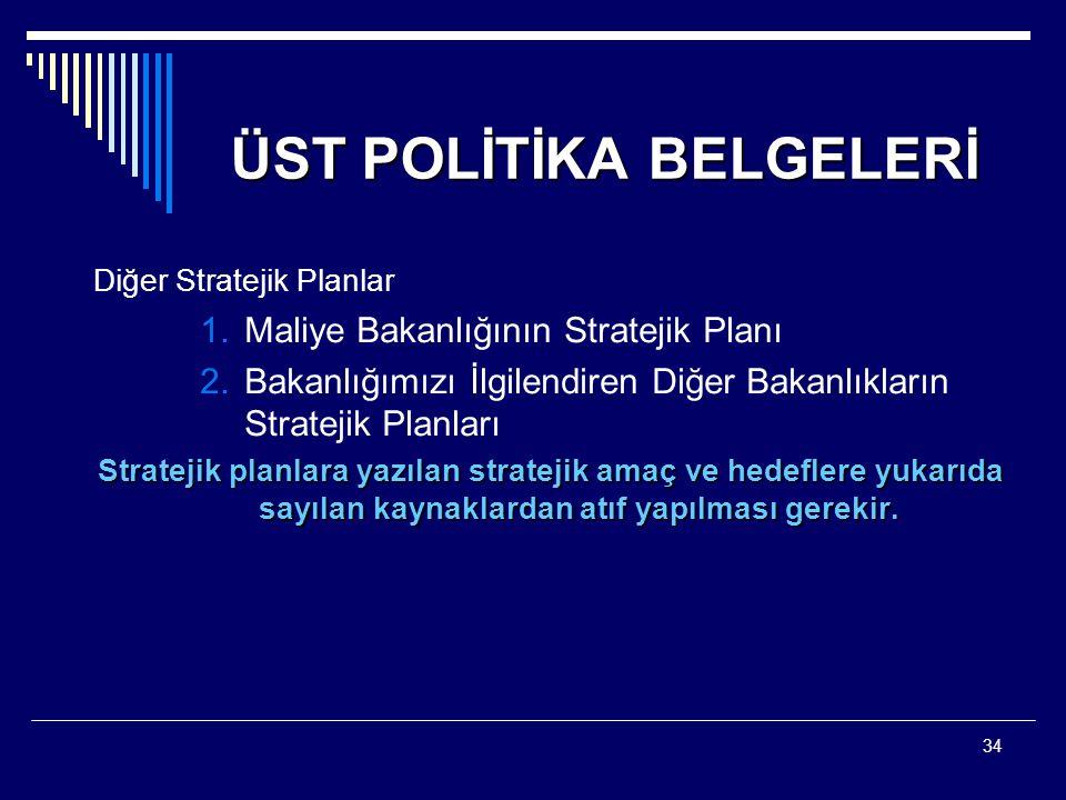 34 ÜST POLİTİKA BELGELERİ Diğer Stratejik Planlar 1.Maliye Bakanlığının Stratejik Planı 2.Bakanlığımızı İlgilendiren Diğer Bakanlıkların Stratejik Pla