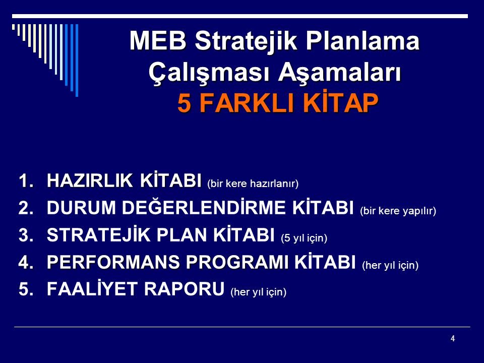 5 Stratejik Plan  DURUM ANALİZİ (ÖZET)  MİSYON  VİZYON  DEĞERLER  AMAÇLAR  HEDEFLER- Performans Hedefleri  PERFORMANS GÖSTERGELERİ  STRATEJİLER  5 YILLIK TAHMİNİ MALİYET