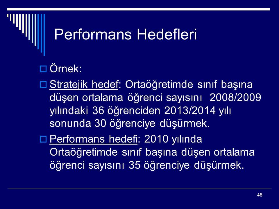 48 Performans Hedefleri  Örnek:  Stratejik hedef: Ortaöğretimde sınıf başına düşen ortalama öğrenci sayısını 2008/2009 yılındaki 36 öğrenciden 2013/