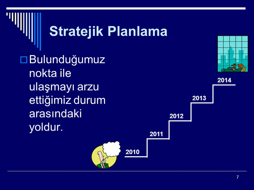 7 Stratejik Planlama  Bulunduğumuz nokta ile ulaşmayı arzu ettiğimiz durum arasındaki yoldur. 2010 2014 2011 2012 2013