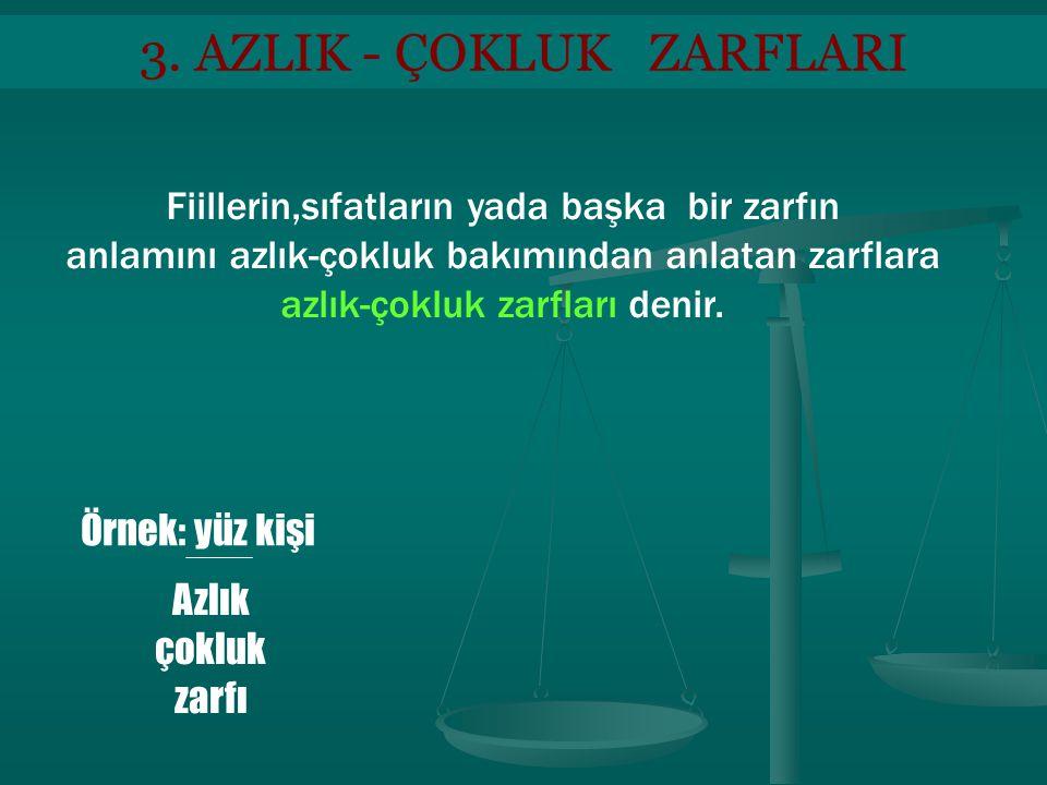 4.SORU ZARFLARI Fiilleri soru yoluyla etkileyen,eylemin biçimini,durumunu,zamanı nı,miktarını soran zarflardır.