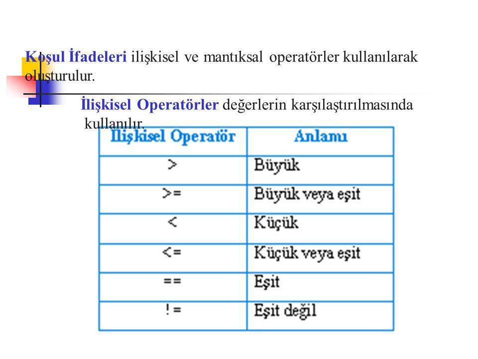 Koşul İfadeleri ilişkisel ve mantıksal operatörler kullanılarak oluşturulur. İlişkisel Operatörler değerlerin karşılaştırılmasında kullanılır.