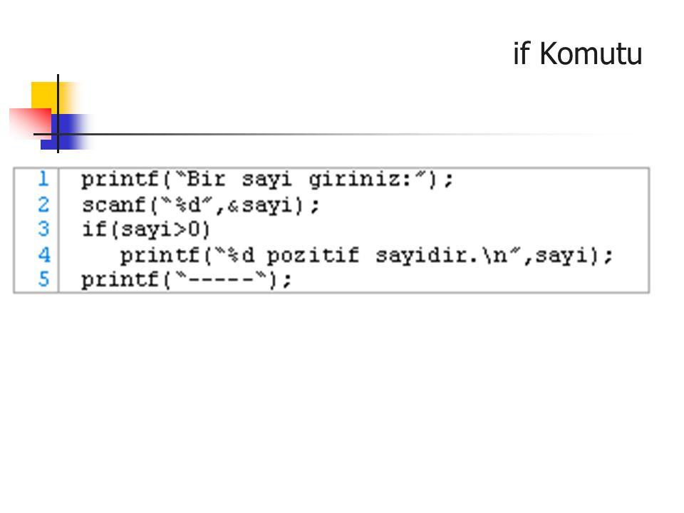 if (koşul_ifadesi) komut1; else komut2; Çift Yönlü if Bu yapıda koşul_ifadesi sıfırdan farklı (doğru) ise komut1 yürütülür; koşul_ifadesi sıfır ise komut2 yürütülür.