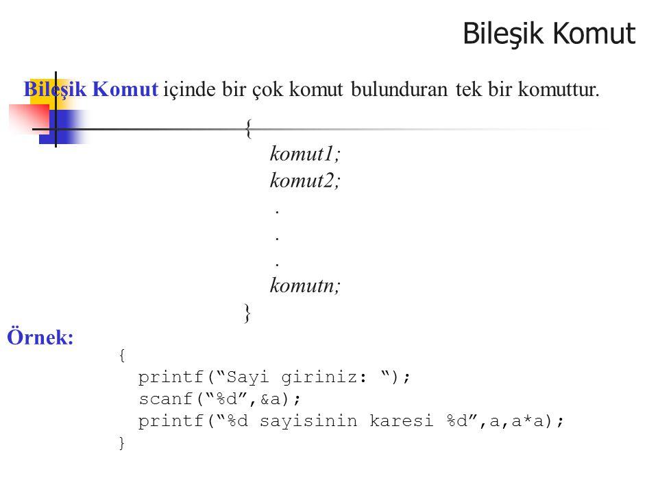Örnek: aritmatik işlem yapan program #include main() { int a,b; char islem; float sonuc; printf( ilk sayıyı giriniz ); scanf( %d ,&a); printf( ikinci sayıyı giriniz ); scanf( %d ,&b); printf( işlem tipini giriniz ); scanf( %s ,&islem); switch(islem) { case '+': sonuc=a+b; break; case '-': sonuc=a-b; break; case '*': sonuc=a*b; break; case '/': sonuc=a/b; break; default: printf( yanlış işlem ); return 0; } printf( sonuc=%f ,sonuc); }