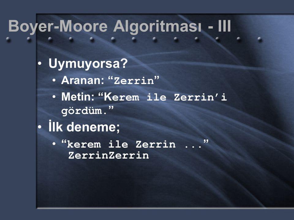 """Boyer-Moore Algoritması - III Uymuyorsa? Aranan: """" Zerrin """" Metin: """"K erem ile Zerrin'i gördüm. """" İlk deneme; """" kerem ile Zerrin... """" Zerrin"""
