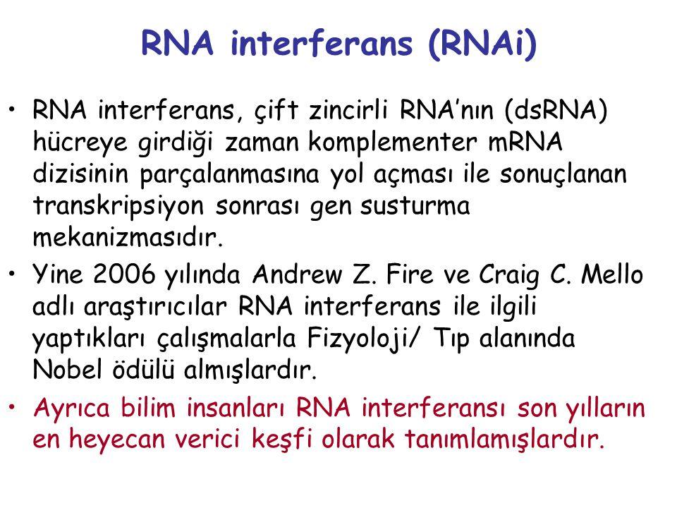 RNA interferans (RNAi) RNA interferans, çift zincirli RNA'nın (dsRNA) hücreye girdiği zaman komplementer mRNA dizisinin parçalanmasına yol açması ile