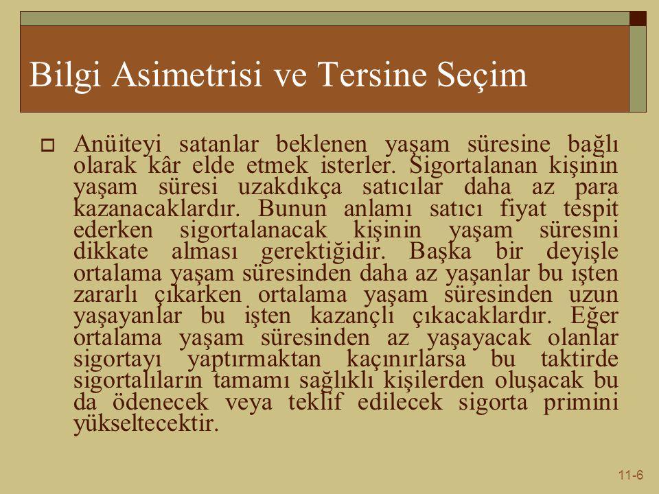 11-6 Bilgi Asimetrisi ve Tersine Seçim  Anüiteyi satanlar beklenen yaşam süresine bağlı olarak kâr elde etmek isterler.