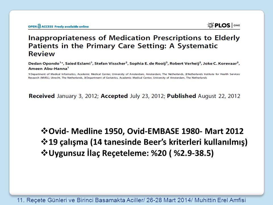  Ovid- Medline 1950, Ovid-EMBASE 1980- Mart 2012  19 çalışma (14 tanesinde Beer's kriterleri kullanılmış)  Uygunsuz İlaç Reçeteleme: %20 ( %2.9-38.