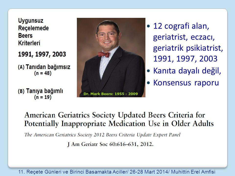 12 cografi alan, geriatrist, eczacı, geriatrik psikiatrist, 1991, 1997, 2003 Kanıta dayalı değil, Konsensus raporu 11. Reçete Günleri ve Birinci Basam