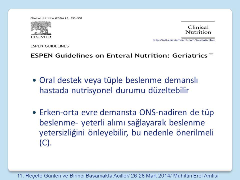 Oral destek veya tüple beslenme demanslı hastada nutrisyonel durumu düzeltebilir Erken-orta evre demansta ONS-nadiren de tüp beslenme- yeterli alımı s