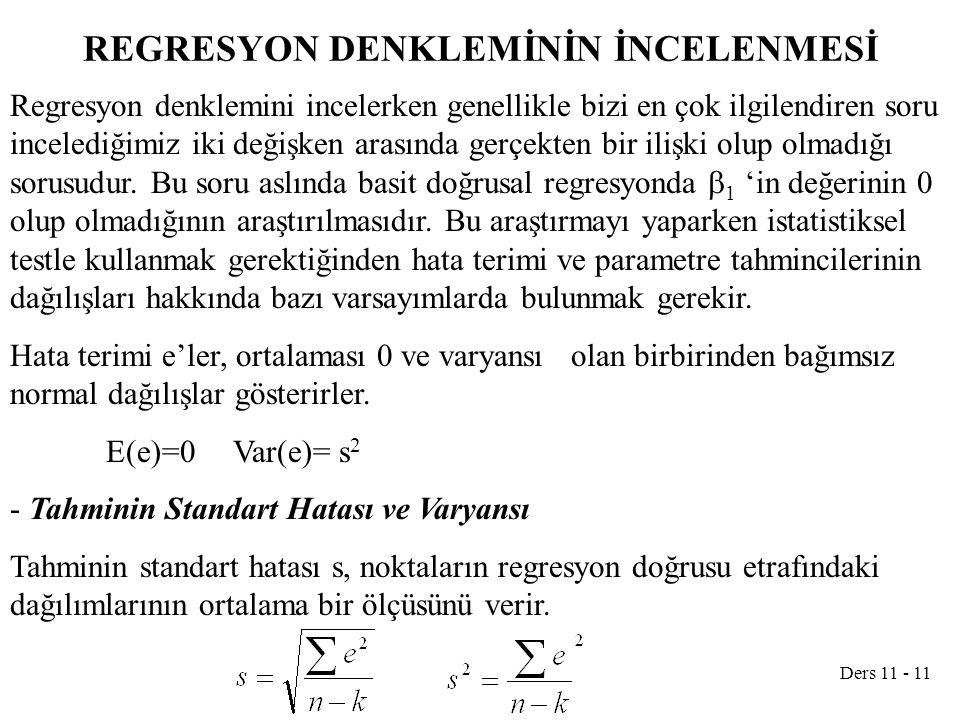 Ders 11 - 11 REGRESYON DENKLEMİNİN İNCELENMESİ Regresyon denklemini incelerken genellikle bizi en çok ilgilendiren soru incelediğimiz iki değişken arasında gerçekten bir ilişki olup olmadığı sorusudur.
