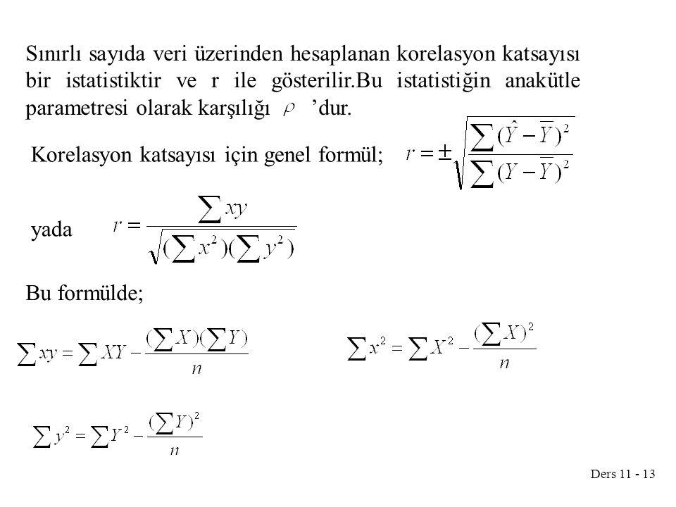 Ders 11 - 13 Sınırlı sayıda veri üzerinden hesaplanan korelasyon katsayısı bir istatistiktir ve r ile gösterilir.Bu istatistiğin anakütle parametresi olarak karşılığı 'dur.